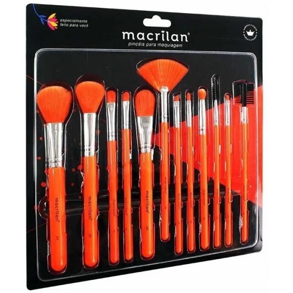 EN001 - Kit com 12 Pincéis para maquiagem Laranja Neon - Macrilan