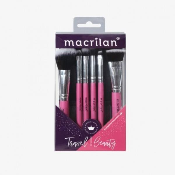 Kit com 6 pincéis profissionais e nécessaire KP10-2 Travel Beauty – Macrilan