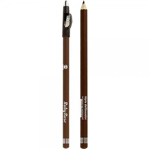 Lápis Delineador de Sobrancelhas com Apontador Ruby Rose  - Marrom - C2