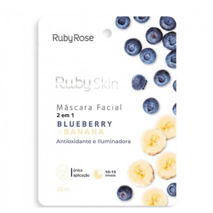 M谩scara Facial de Tecido Blueberry e Banana - Ruby Rose