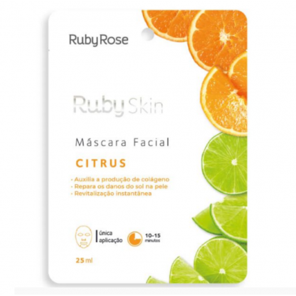 M谩scara Facial De Tecido Citrus Skin - Ruby Rose